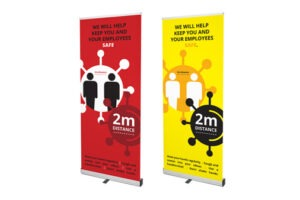 PrintPlusNI - keep your distance pop up banner